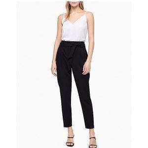 Calvin Klein Black Tie Waist Ankle Pants Size 6